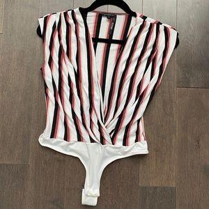 Dynamite striped v neck bodysuit